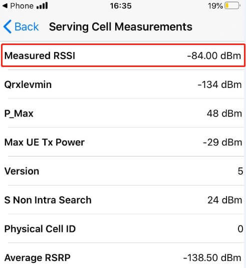 iOS Field Check mode-2-Service Cell Measurements